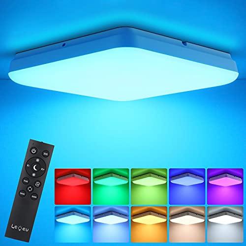 LEOEU RGB LED Deckenleuchte Dimmbar mit Fernbedienung, 36W 3600lm RBG LED Deckenlampe dimmbar mit 7 Lichtfarben, IP54 led Badleuchte dimmbar Für Wohnzimmer Schlafzimmer Kinderzimmer Bad
