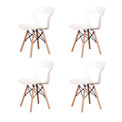 EDLMH 4/6er Set PP Ergonomischer Esszimmerstuhl Nordic Stil Küchenstuhl mit Naturbuche Holzbeine für Wohnzimmer Restaurant Lounge (4, Weiß)