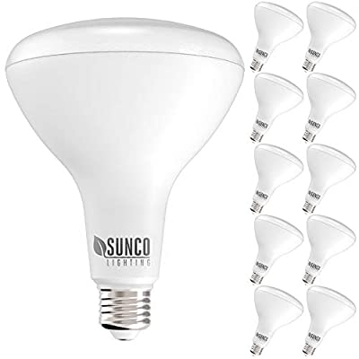 Sunco Lighting 10 Pack BR40 LED Bulb, 17W=100W, Dimmable, 6000K Daylight Deluxe, 1400 LM, E26 Base, Indoor Flood Light for Cans - UL & Energy Star