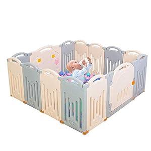 Parque infantil plegable para niños, centro de actividades de seguridad, patio, hogar, interior y exterior (14Panel Grey)