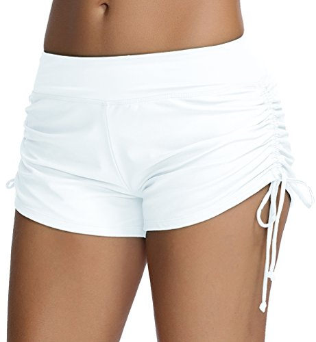 OLIPHEE Damen Badeshorts Bikinihose Wassersport Hotpants Verstellbare Kordel Bände Schwimmshorts Bunte Farben Weiß M