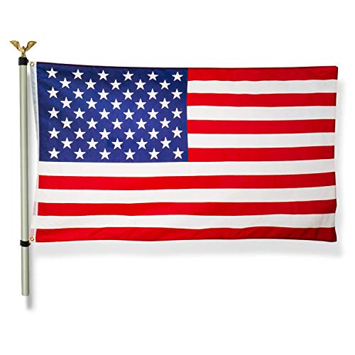Home Zone Living M60818000000 3x5 FT American Flag w/ 12Ft Pole In-Ground Spike Base Brass Grommets, No Tangle Spinning Aluminum Flagpole