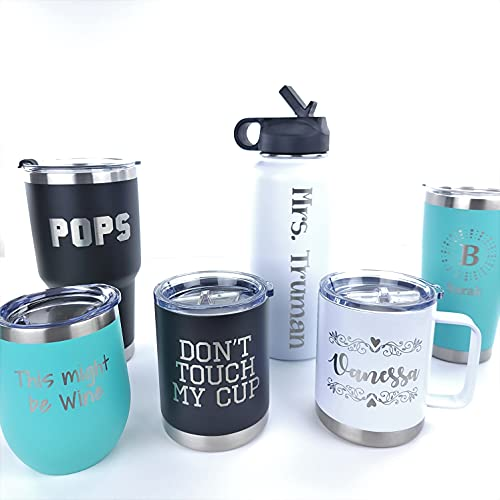 Personalized Custom Engraved Tumblers - Insulated Stainless Steel Cups - Travel Mugs - Customize with Monogram, Name, or Text - Multiple Sizes...