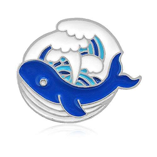 Wanfor Brosche, Cartoon-Motiv, niedlicher japanischer Stil, Welle, Delfin, Stieleisform, Legierung, Anstecknadel, Kleid, Hut, Schal, Dekor-Accessoire