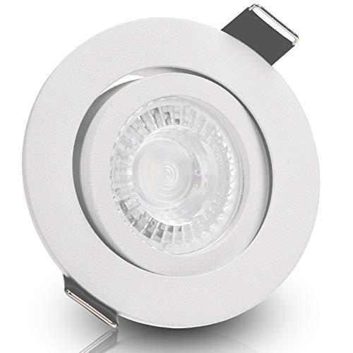 BIANCO LED 10er Set 7,5W dimmbar 230V GU10 Decken Einbaustrahler rund WEIß WEISS MATT Warm-Weiß schwenkbar Einbauleuchte Einbauspot Downlight