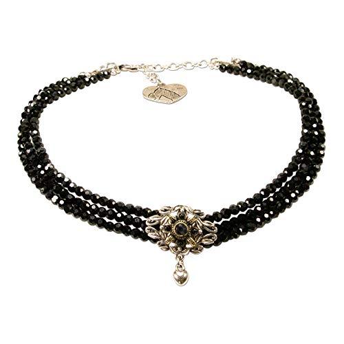 Alpenflüstern Trachten-Perlen-Kropfkette Mary - nostalgische Trachtenkette, eleganter Damen-Trachtenschmuck, Dirndlkette schwarz DHK235