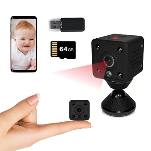 Insygrow Mini Kamera Mit 64 Gb Karte, Mini Überwachungskamera Wlan Für Innen, Nachtsichtkamera Lange Batterielaufzeit, Mini Camera Wifi Hd Ready, Wifi Minikamera Live Handy App