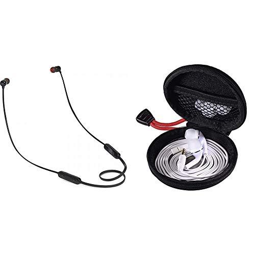 JBL Tune110BT In-Ear Bluetooth-Kopfhörer - Kabellose Ohrhörer mit integriertem Mikrofon - Musik Streaming bis zu 6 Stunden mit nur Einer Akku-Ladung Schwarz & Hama Kopfhörer Tasche für In Ear Headset