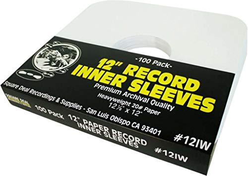 "12"" Vinyl Record Sleeves - Heavyweight White Paper Inner Sleeves - Archival Quality, Acid-Free! Set of 100 #12IW"