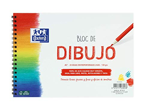 Oxford Bloc Dibujo A5 Tapa Blanda/Contratapa rígida 20 Hojas 130 gr Liso con Espiral