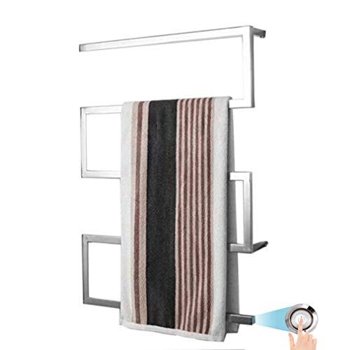 WHZWH Elektrische Handtuchwärmer Wandmontierter, beheizter Handtuchschiene mit LED-Schalter, Edelstahl-Heißtuchwärmer für Badewanne, 45 ° C Thermostat-elektrischer Handtuchhalter, 90w,Hardwired