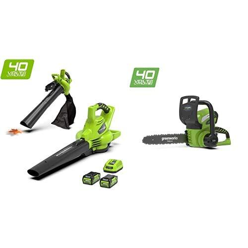 Greenworks Tools 24227UC 40 V Laubgebläse und Sauger inklusive 2 Akkus 2Ah und Ladegerät, grün, Laubbläser+ 40V Akku-Kettensäge 30cm (ohne Akku und Ladegerät) - 20117