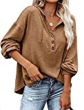 Beautmell Sweat à capuche à manches longues et col en V pour femme avec cordon de serrage, kaki, L