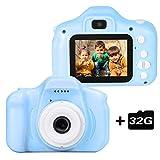 le-idea Cámara para niños Cámara de Fotos Digital 2 Objetivos Selfie 12MP Cámara Digital 1080P HD Video cámaras para Niños Niñas con Zoom Digital 4X , 2' IPS, Azul【El Idioma ha Sido actualizado】
