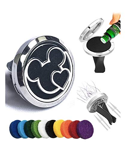 FIKA Mickey Mouse Heart Car Air Freshener Vent Clip Locket Aromatherapy Essential Oils Great for Travel Pads Included (Heart)