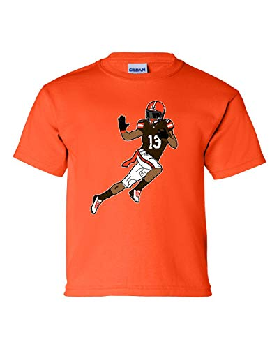 Odell Beckham Jr Brown Graphic T Shirt Youth Size Cleveland Football Fan(X-Large, Orange)