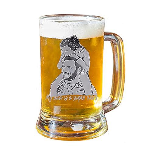 Jarra de Cerveza Gigante Personalizada, Jarra de Cerveza de Vidrio, agregue su Propio Texto y Foto Personalizados Grabados para el Regalo de la Barra de la Fiesta de Bodas