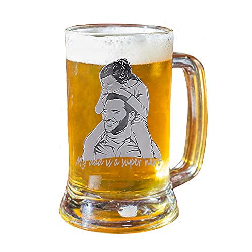 1-Pack Personalized Large Solid Beer Glasses, 320ML Engraved Text Photo Dainty Customized Beer Mugs Beer Cups with Handle