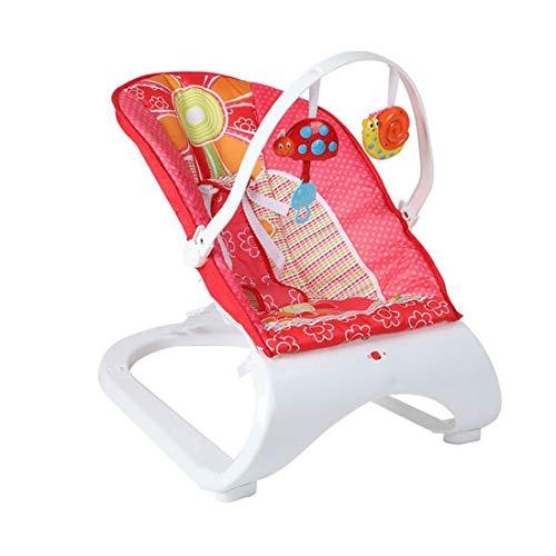 Silla de columpio portátil para niños pequeños desde el nacimiento del balancín Asiento de la hamaca Vibración Silla multifuncional Guardaespaldas mecedora Barra de juguete extraíble 0-3 años,Rojo