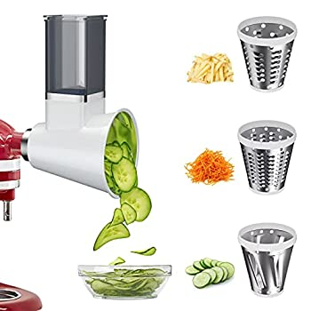 BANKKY Slicer Shredder Attachment for KitchenAid Stand Mixer Electric Cheese Grater Attachment Accessories for KitchenAid with 3 Blades Salad Shooter Dishwasher Safe  White