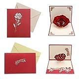 HOWAF 2 Pack 3D Liebe Karte, Pop up Karte Hochzeitstag Herz Rose Romantik Herzkarte Geburtstagskarte Valentinstag Karte mit Umschlag für Hochzeitstag, Jahrestag