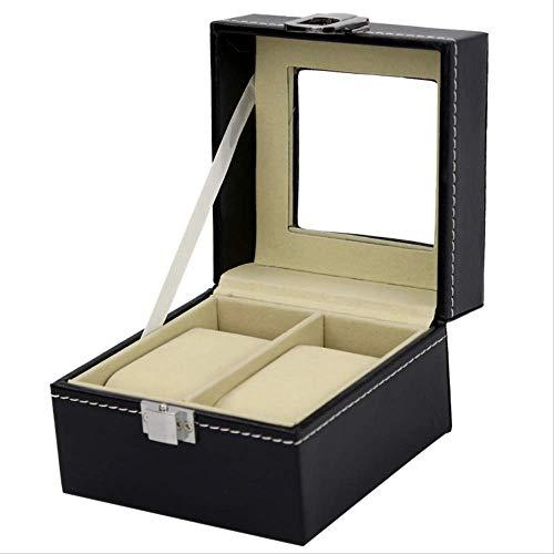 Watch Box Wood 2 Open Window Button Watch Show Storage Box Scatola per orologio da uomo in pelle nera