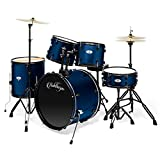 Ashthorpe 5-Piece Complete Full Size Adult Drum Set with Remo Batter Heads - Blue