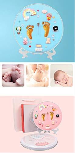 Kit personalizable de huellas para bebé de arcilla – Caja de recuerdo manos y pies para niños y niñas recién nacidos – Regalo original ideal Baby Shower para Bebes y embarazadas – No tóxico (Azul)