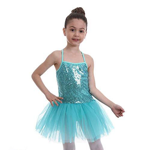 FONLAM Vestido Maillot de Ballet para Nia Vestido Danza Gimnasia Patinaje Tut Ballet Nia Brillante (Turquesa, 5-6 Aos)