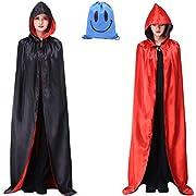 Myir JUN Unisex Umhang mit Kapuze, Umhang Schwarz Rot Cape Dracula Umhang Halloween Umhänge Mittelalter Vampir Kostüm Erwachsene Kinder Herren Damen (Schwarz Rot, XL)