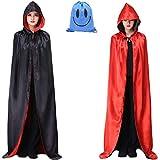 Myir Reversible Capa Negro Rojo con Capucha Adulto Niño Niña, Unisex Disfraces Disfraz de Halloween Hombre Mujer Brujo Bruja Vampira (S, Negra Rojo)