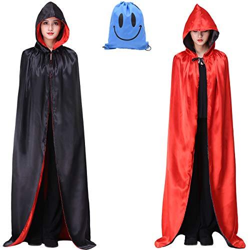 Myir Reversible Capa Negro Rojo con Capucha Adulto Niño Niña, Unisex Disfraces Disfraz de Halloween Hombre Mujer Brujo Bruja Vampira (L, Negra Rojo)