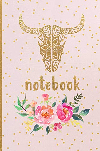 Notebook: Longhorn Skull Mandala Lined Notebook for Texas Moms and Southern Girls - Watercolor Flowers Print College Ruled Blank Journal to Write in for Women