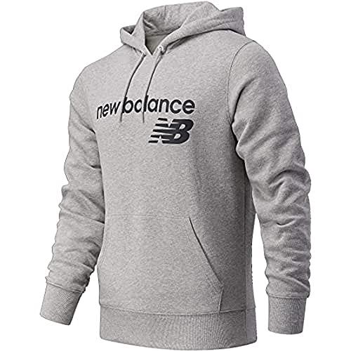 New Balance Sudadera con capucha para hombre Nb Classic Core de forro polar, Camiseta, MT03910, Carbón jaspeado, L