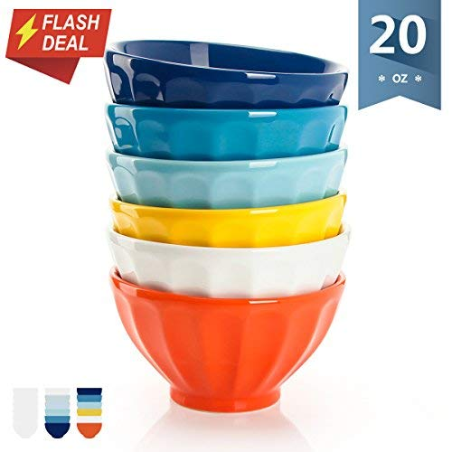 Sweese 1118 Porcelain Fluted Latte Bowls - 20 Ounce for Cereal, Soup - Set of 6, Hot Assorted Colors