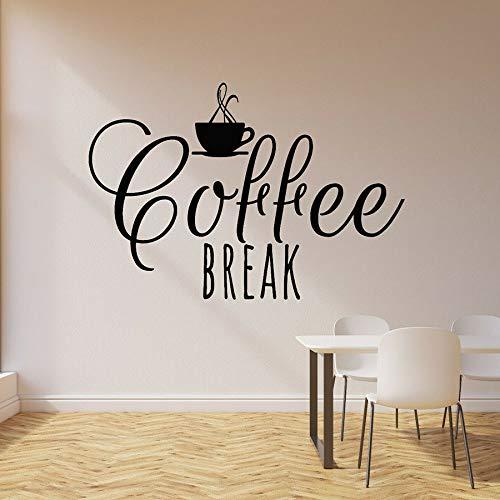 Vinyl muurtattoo kopje warme drank koffie lounge cafe bar keuken interieur vensterglas sticker belettering kunst muurschildering 30x43cm