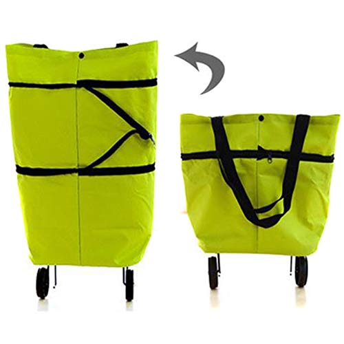Pilink Bolsa plegable plegable para carrito de compras plegable portátil multifunción con ruedas carrito de compras reutilizable