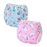 2 PCS InnoBeta Pañal de Natación, Bañador Pañal reutilizables para Bebé, pañales tela lavable para niños niñas 0-1 años(Size S), Unicornio + Helado