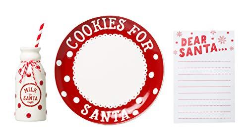 Pearhead Christmas Cookies for Santa Plate, Milk for Santa Milk Jug and Dear Santa Notepad Set, Holiday Gift Collection