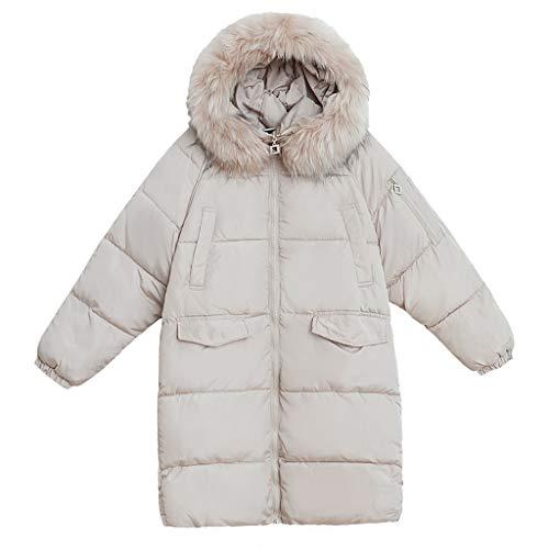 Deloito Wintermantel Mode Damen Langer Daunenjacke einfarbig Warmer Windjacke mit Fellkapuze Parka Outwear Plus Samt Wollmantel (Weiß,XX-Large)