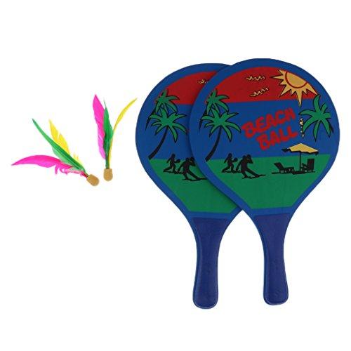 chiwanji Paletas/Raquetas de Pelota de Playa, Bate de Tenis de Bádminton de Madera, Juego de Patio Trasero