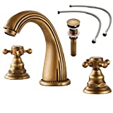"""Gecious Two Handle Widespread Bathroom Sink Faucet Antique Brass with Pop-up Drain and Hoses,Cross Handle, Basin Mixer Tap Three Holes, 6''-12"""" widespread"""
