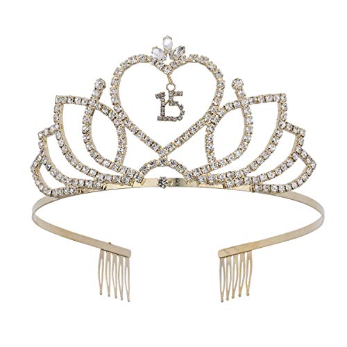 Lurrose Tiara de Cumpleaños de 15 Años de Cristal Corona d