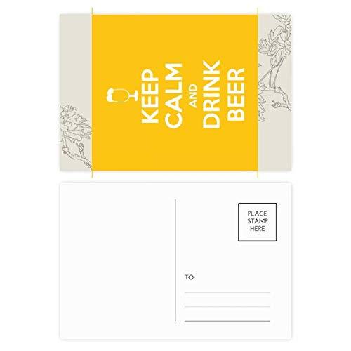 DIYthinker citaat houden kalm en drinken bier gele bloem ansichtkaart set dank kaart mailing kant 20 stks 5.7 inch x 3.8 inch Multi kleuren