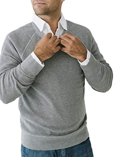 Hope & Henry Men's Waffle Knit Pullover Sweater Dark Gray Heather