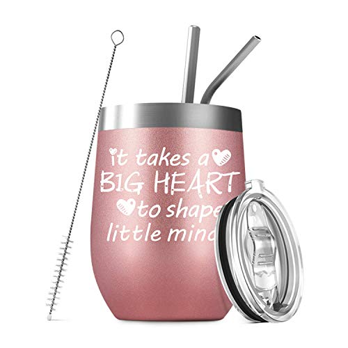 Deitybless Teacher Gifts for Women, Funny Birthday Gifts for Teachers, Preschool Teacher Appreciation Gifts, It Takes a Big Heart to Help Shape Little Minds, 12oz Wine Tumbler