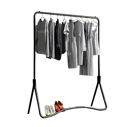 LM Coat rack  Personalidad Diseño Simple Perchero, Planchar Armar Percheros Burro, Estante De Almacenamiento De Ropa Dormitorio (Color : Black, Size : 120cm)