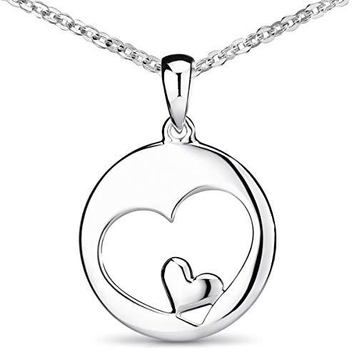 MATERIA Damen Ketten-Anhänger Herz Silber 925 - Silberanhänger mit Kette Liebe in Schmuck Box KA-60_K30-60 cm