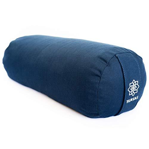 Yamkas Bolster Yoga Rodillo para Yin Yoga - de Cascos de Trigo Sarraceno Orgánico - Cubierta en Algodon Lavable- Cojin Rodilla - Rulo Pilates o Yoga Bolster - 60 x 22 cm - Navy