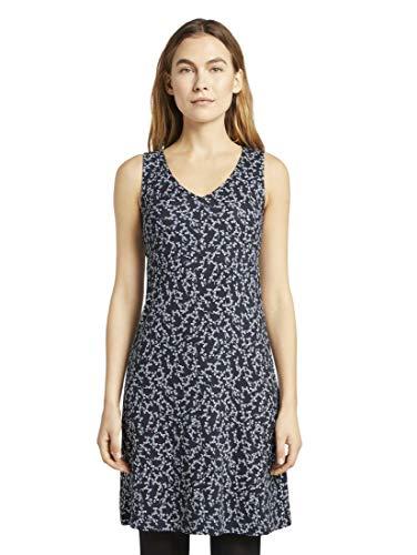 TOM TAILOR Damen Jersey Shirt Kleid, Blau ( 21293 - navy flowery design ) , 34